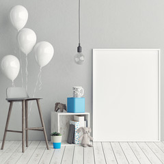 Corner of children room, Empty poster, 3d illustration