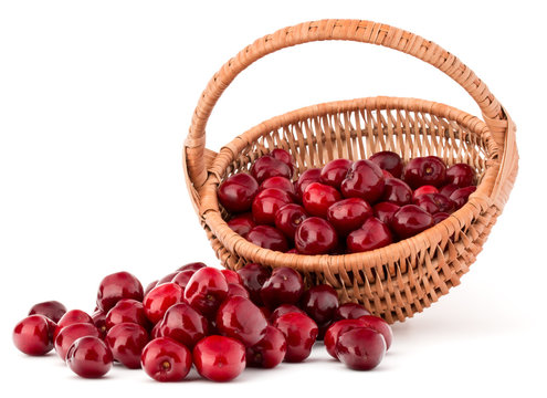 cherry berries in wicker basket isolated on white background cut