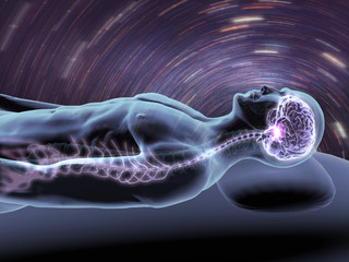 Reclining Man with X-ray Brain and Spine