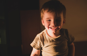 Cute toddler on natural light at home living his childhood