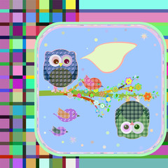 textile owl and bird on floral branch tree with empty bubbles