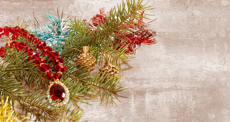 Christmas decoration,jewelry and garland frame concept background. Christmas ,jewelry set.
