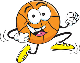 Cartoon illustration of a running basketball.