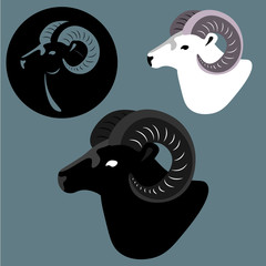 3 goat, ibex, set of element, logo