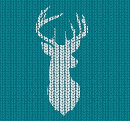 Seamless knitted pattern and head deer silhouette or reindeer. Vector illustration.