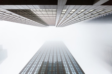 Looking up two highrise skyscapers in Toronto, Canada Fototapete