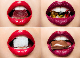 Set of beautiful female lips with a colorful lipstick and sweets