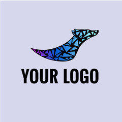 Modern black logo, dog and color mosaic