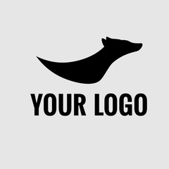 Modern black logo, running dog