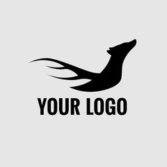Modern black logo, dog and wings