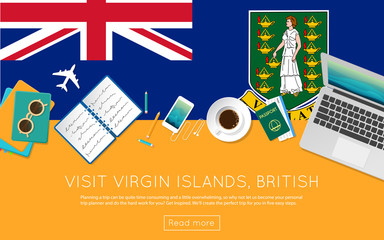 Visit Virgin Islands, British concept for your web banner or print materials. Top view of a laptop, sunglasses and coffee cup on Virgin Islands, British national flag.