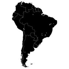 Карта южной Америки в высоком разрешении. Векторная иллюстрация.