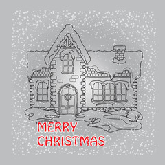 Christmas house  with snowflakes on grey background.