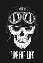 Biker Skull Art. Vector Illustration