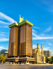 Columbus Towers or Torres de Colon, a highrise building in Madrid, Spain