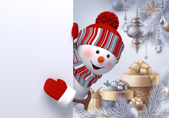 3d curious snowman looking out, Christmas  ornaments, balls, poster, gifts, winter holidays background, blank banner, greeting card template