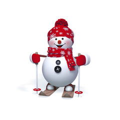 3d snowman skiing clip art isolated on white background, Christmas holiday, Happy New Year greeting card,