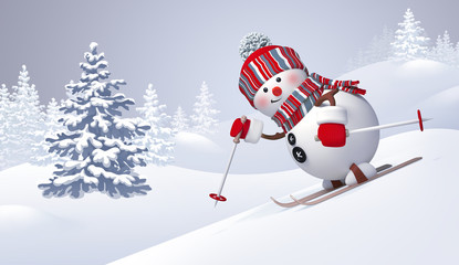 3d snowman sliding downhill, skiing, Christmas holiday background, panoramic winter landscape, Happy New Year greeting card