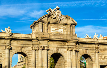 Puerta de Alcala, one of the ancient gates in Madrid, Spain