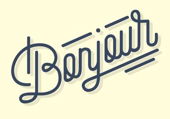 Bonjour Vintage Custom Script Lettering. Retro Cursive Character