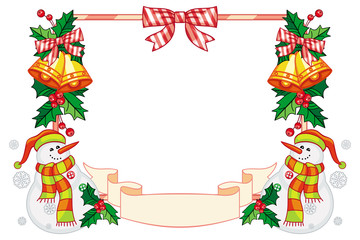 Horizontal frame with Christmas decorations and snowman.