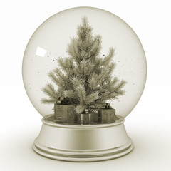 Snow ball with Christmas tree and presents. 3d illustration