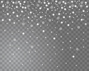 Falling snow on a transparent background. Abstract snowflake background for your Christmas design. Vector illustration