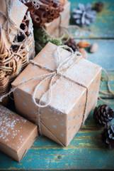 Christmas Card Box Basket Pine Cone Walnut