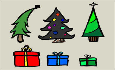 Christmas Trees & Gifts: Hand-drawn Clip Art