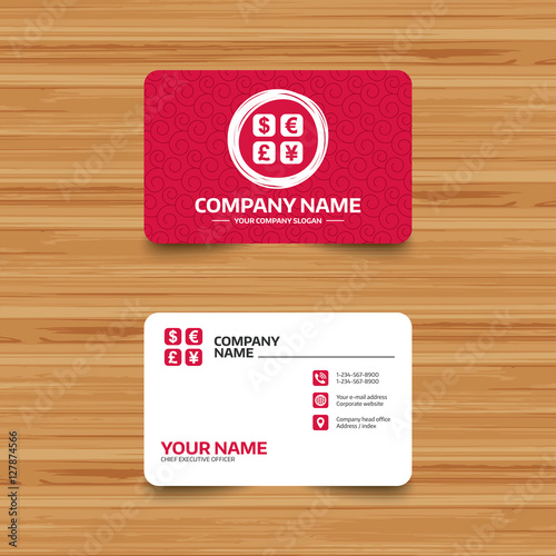 Business Card Template With Texture Currency Exchange Sign Icon