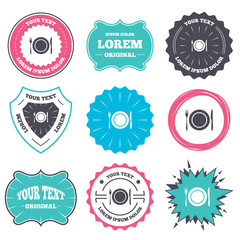Label and badge templates. Plate dish with fork and knife. Eat sign icon. Cutlery etiquette rules symbol. Retro style banners, emblems. Vector