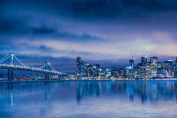 Beautiful San Francisco skyline and Bay Bridge at night