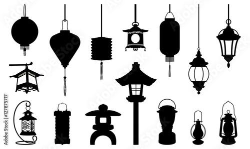 Silhouette Of Lantern Icon Illustration