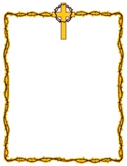 Christian frame design with cross and crown of thorns