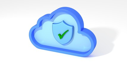 Cloud computing security shield symbol on white