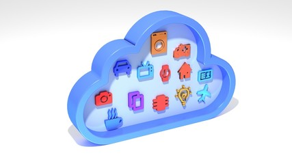 Internet of things IOT cloud symbol on white