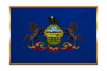 Flag of Pennsylvania, golden frame, fabric texture