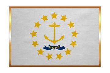 Flag of Rhode Island, golden frame, fabric texture