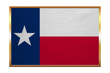 Flag of Texas , golden frame, fabric texture