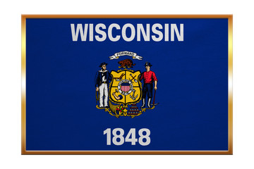 Flag of Wisconsin , golden frame, fabric texture