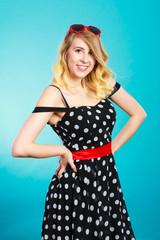 Woman wearing fashion polka dots dress
