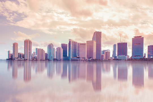 Beautiful Miami Florida skyline at sunset and Biscayne Bay