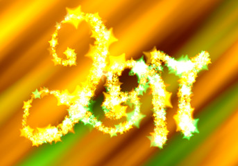Happy new year 2017 isolated numbers lettering written by shining stars on bright green orange background