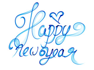 Happy new year isolated words lettering written with blue fire flame or smoke on white background