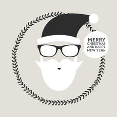 Hipster Santa Claus. Greeting card or invitation on Christmas, new year. vector