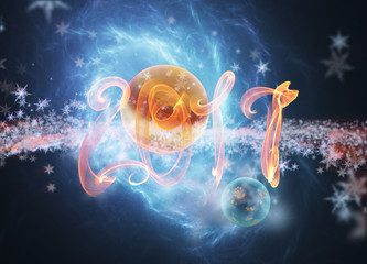 Happy new year 2017 numbers lettering written with fire flame or smoke on bright space background with planet