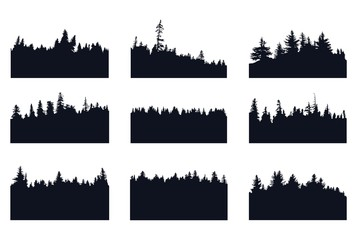 Set of forest silhouette Wall mural