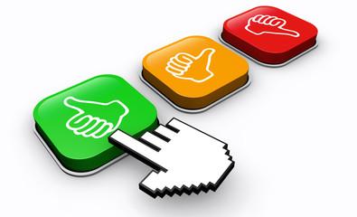 Happy Customer Click Positive Feedback Button