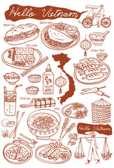 Set of Vietnamese food doodles. Hand drawn outline vector.