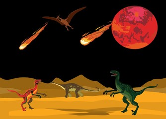 Dinosaurus on ancient desert landsape, comets and red planet on black sky. Wallpaper